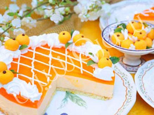 طرز تهیه کیک با كرم باواريای پرتقال