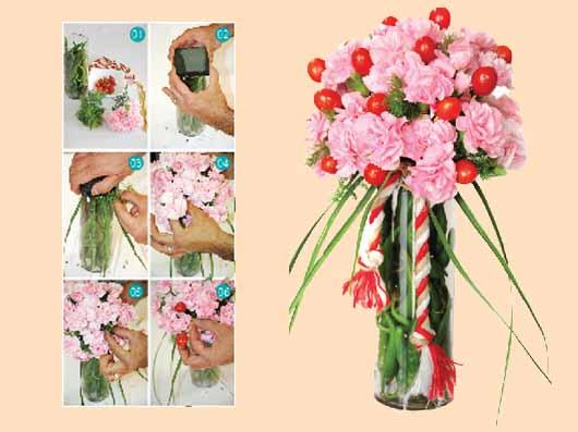 گل آرایی با گل میخک و گوجه فرنگی مینیاتوری