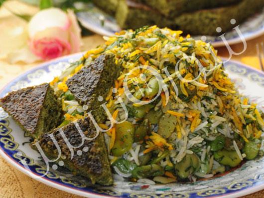 باقلاپلو با کوکوی سبزی