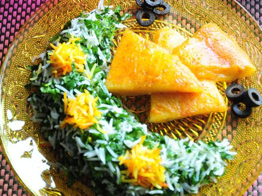 سبزی پلو با پنیر برشته