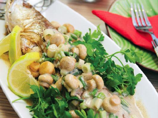 ماهی شوریده با سس قارچ و خامه