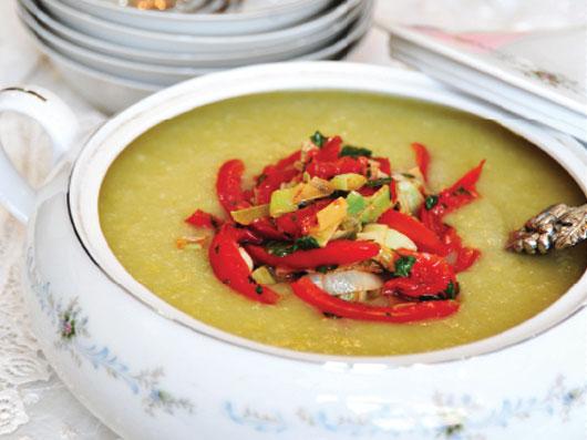 سوپ سیب زمینی با گوجه فرنگی و ريحان