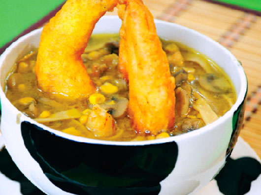 سوپ نودل و میگو