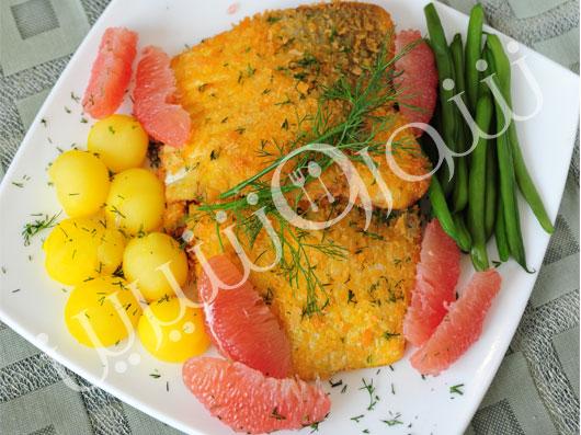 ماهی آزاد با گريپفروت، ليمو و شويد