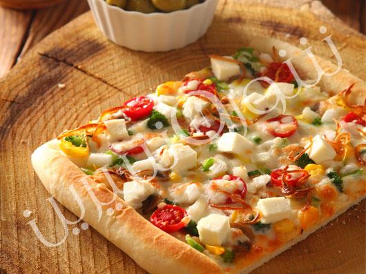 پیتزا سبزیجات با توفو