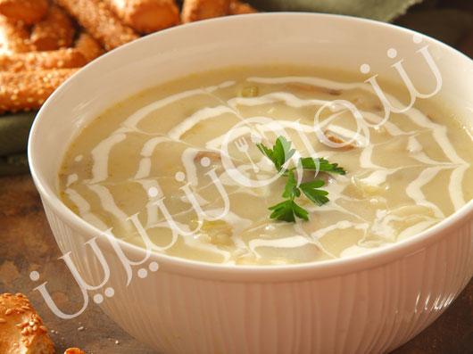 سوپ تره فرنگی و قارچ