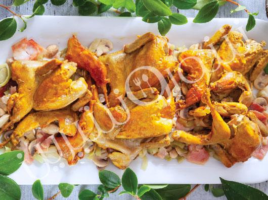 خوراک بلدرچین با تره فرنگی