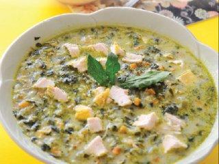 سوپ اسفناج و خامه