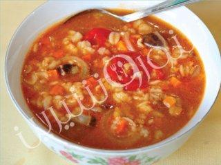سوپ جو و گوشت