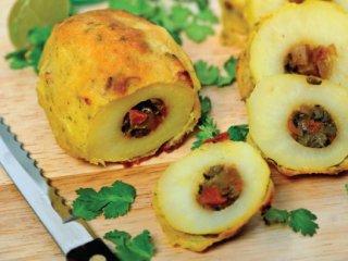 سیبزمینی پركرده با مخلوط سبزی