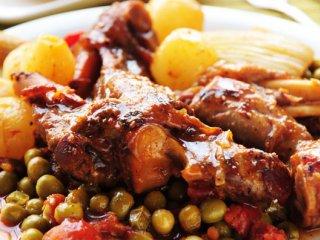خوراك ماهیچه و نخود فرنگی