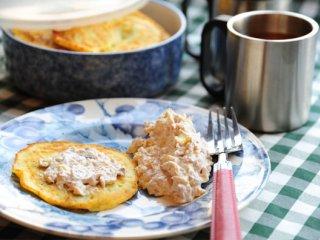 پن كيك سیبزمینی با ديپ ماهی
