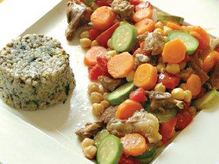 خوراك بره و سبزی ها
