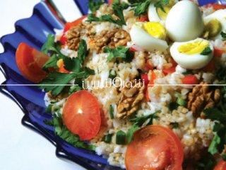 سالاد بلغور، برنج و تخم بلدرچین