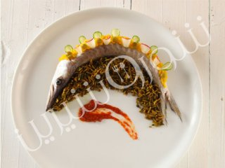 كباب ماهی شير با برنج كاری